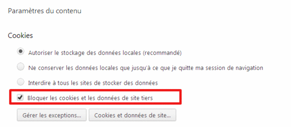 bloquer les cookies tiers, Chrome (2)