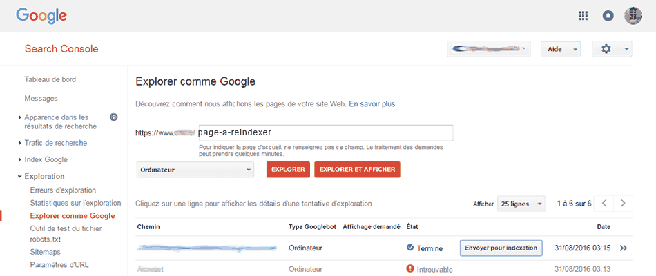 4- Google search console demander l'exploration d'une  url