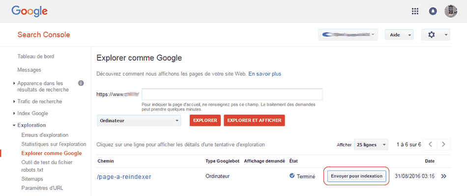 5- Google search console envoyer pour indexation