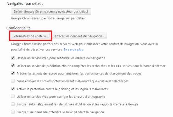 bloquer les cookies tiers, Chrome