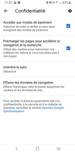 Chrome mobile - paramètres de confidentialité