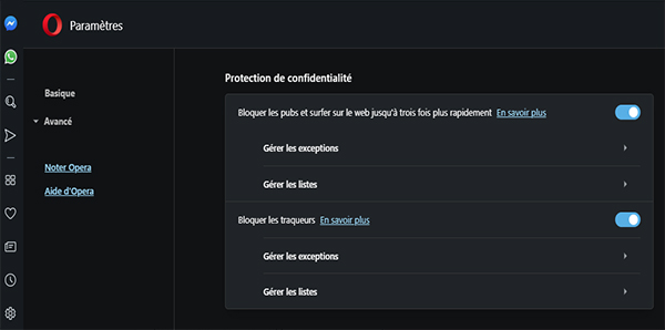 Opera - protection de confidentialité