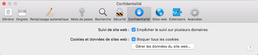 Safari - Confidentialité